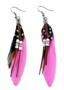 Light Pink Dangle Feather Earrings, #17