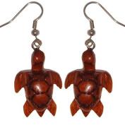Hawaiian Jewellery Koa Wood Honu Turtle Dangle Pierce Earrings