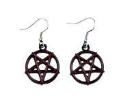 Red Inlay Inverted Pentagram Earrings