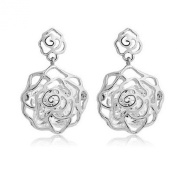 LOCOMO Big Rose Hollow Bling Clear Crystal Rhinestone Electroplated Drop Dangle Earrings Silver JER010SIL