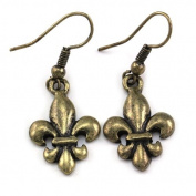 Antique Style Fleur De Lis Lily Flower Dangle Earrings Fashion Jewellery