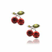 Silver Plated Crystal Red Cherry with Vine Earrings