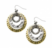 Antique Silver and Antique Brass Hammered Circle Earrings