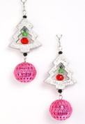 Festive Beaded Christmas Tree and Pink Ornament Ball Drop Earrings