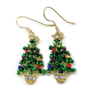 Happy Colourful Christmas Tree Hoop Dangle Earrings Gold Tone Xmas Jewellery