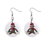 Sock Monkey Dangle Button Earrings Jewellery 2.5cm Round 26402362