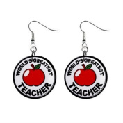Award World's Great Teacher Dangle Earrings Jewellery 2.5cm Buttons 16452715