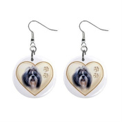 Shih Tzu Dog Heart Pet Lover Jewellery Button Earrings 12977478