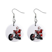 Santa on a Hog Motorcycle Christmas Dangle Button Earrings Jewellery 2.5cm Round 13092967