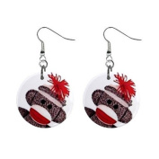 Sock Monkey Face Dangle Button Earrings Jewellery 2.5cm Round 27353845