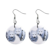 Wolves Dangle Button Earrings Jewellery 2.5cm Round 12894088