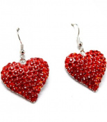 Red Love Heart Chunky Bling Crystal Stone Earrings