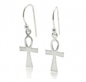 Egyptian Cross Ankh of Life Sterling Silver Hook Earrings
