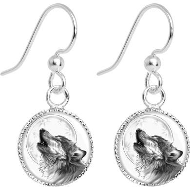Howling Wolf Dangle Earrings