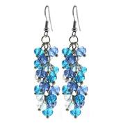 Ocean Blue Cluster Faceted Crystal Dangle Hook Earrings For Women 5.1cm