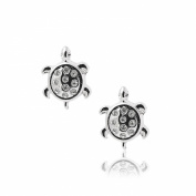 Silver Plated Crystal Long Live Turtle Earrings