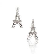 Silver Plated Crystal Miniature Flat Eiffel Tower Earrings
