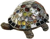 Dale Tiffany 7908/816A Blue Turtle Accent Lamp, Antique Bronze and Art Glass Shade