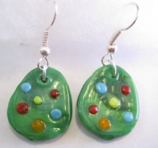 Fused Glass Green Easter Egg Dangle Earrings