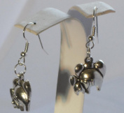 Elephants Mom and Baby Backside Tibetan Silver Dangle Earrings