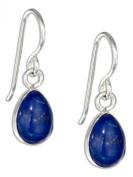 Sterling Silver Teardrop Lapis Cabochon Earrings