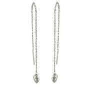 Sterling Silver Plain Threader with Slant Heart Dangle Earrings