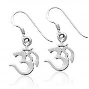 Sterling Silver Tarnish-Free Polished Om Ohm Aum Dangle Earrings