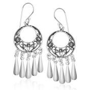 Sterling Silver Bali Filigree Chandelier Hoop Dangle Earrings