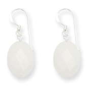 Sterling Silver White Jade Antiqued Earrings