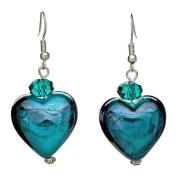Lova JewelryTopaz Blue Heart-Shaped Hand-Blown Venetian Murano Glass Drop Earrings