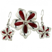 Sterling Silver Red Enamel Flower Fish HookEarrings and Pendant Set 40.6cm chain