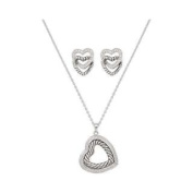 Montana Silversmiths Nested Silver and Twisted Rope Hearts Jewellery Set
