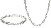 Cold Steel Stainless Steel Link Men's Necklace and Bracelet Set