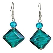 """Lova Jewellery """"Azure"""" Hand-Blown Venetian Murano Glass Drop Earrings"""