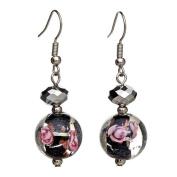 "Lova Jewellery ""Night Blossoms"" Hand-Blown Venetian Murano Glass Drop Earrings"