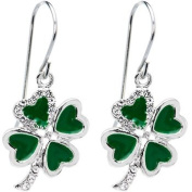 Jewelled Heart Shamrock Earrings