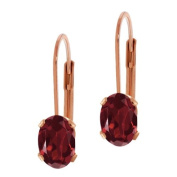 1.80 Ct Genuine Oval Red Garnet 23K Rose Gold Palted Leverback Earrings 7X5MM