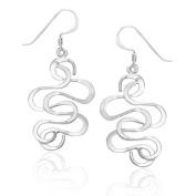 Sterling Silver Stunning Swirl Wave Dangle Earrings