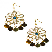 Flower Shaped Mystical Lucky Blue Eye Gold-Tone Brass Earring