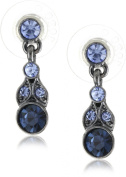 1928 Jewellery Simplicity Hematite-Colour and Sapphire Petite Drop Earrings