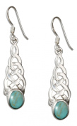 Sterling Silver Celtic Knot Earrings with Turquoise Oval