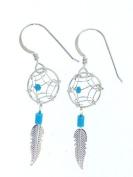 Beautiful! Sterling-silver Southwest Dream Catcher dangle-earrings