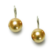 Sterling Silver Champagne Shell Pearl Lever Back Earrings