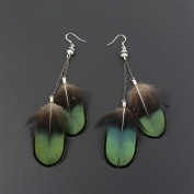 Crystalmood Handmade Green Feather Earrings with Sterling Silver Earwire