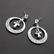 Crystalmood LUX. Crystal Rhinestone Silver Circle Bridal Pin-back Earrings