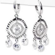 Cubic-zirconia Rhodium Finish Sterling Silver Chandelier Earrings