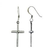 Sterling Silver Cross Dangle Earrings, 2.5cm tall