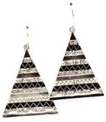 Black & Silver Pyramid Drop Earrings