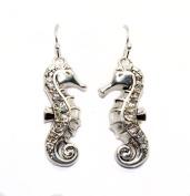 Bejewelled Silver Seahorse Earrings