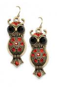 Red Big-eyed Owl Earrings